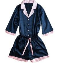 korean ladies's pajamas units fake silk patchwork lingerie units turn-down collar half sleeve summer time satin dwelling put on