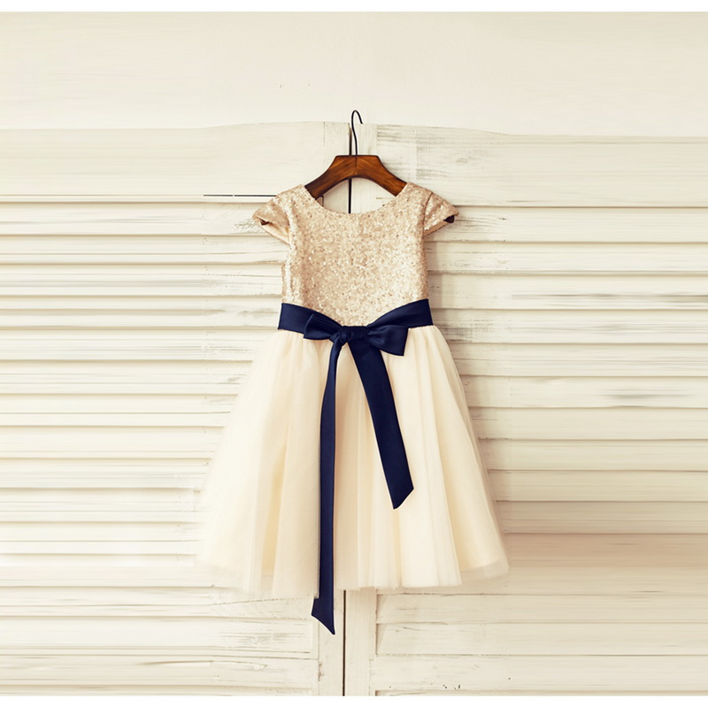 LAN TING BRIDE A-Line Knee Length Flower Girl Dress Tulle Sequined Short Sleeves Scoop Neck with Bow(s) Sash Ribbon Sequins