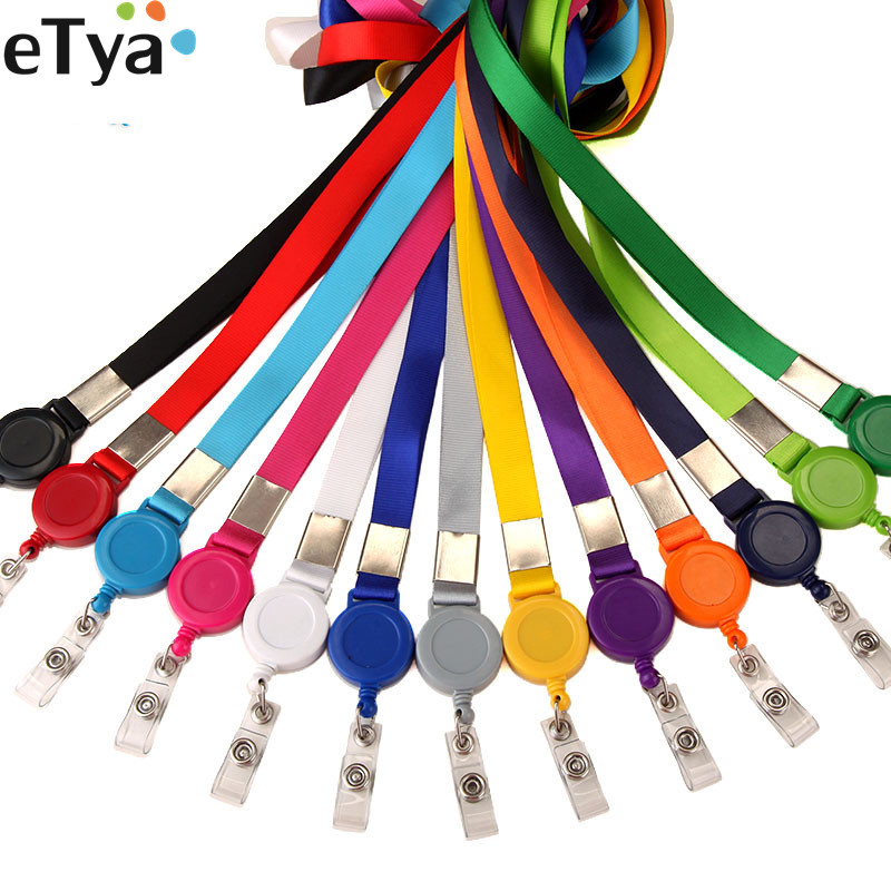ETya 1pcs Credit Card Holder Retractable Lanyard Neck Strap  ID Name Bus Card Badge Badge Clip