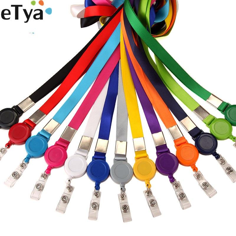 ETya 1pcs Credit Card Holder Retractable Lanyard Neck Strap  ID Name Bus Card Badge Badge Clip