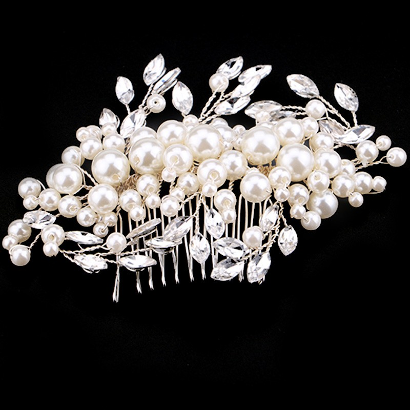 HTB1bvbCOXXXXXa1XVXXq6xXFXXXh Romantic Flower Bouquet Rhinestone Crystal Pearl Hair Jewelry For Wedding/Prom/Party