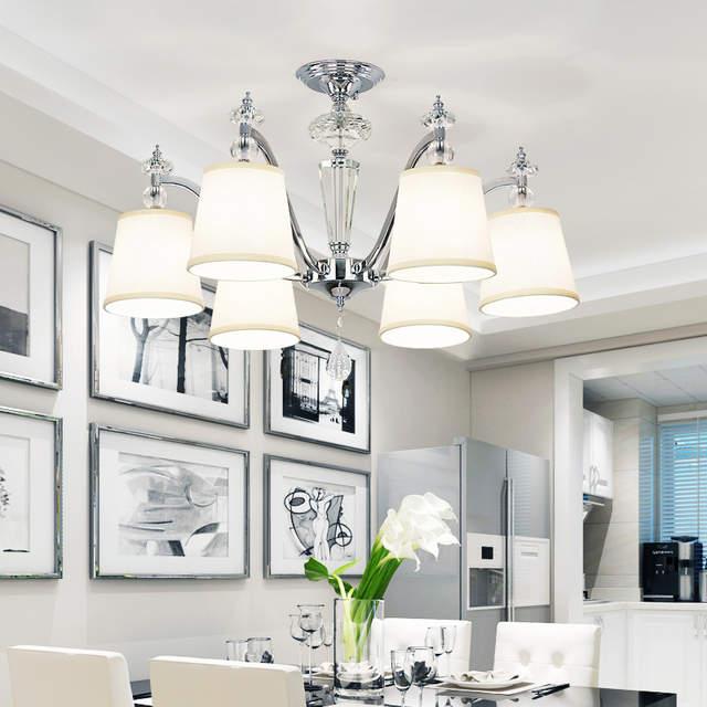 Lustre Moderne En Cristal Led Lustre Eclairage Salle A Manger En Metal Chrome Led Lustres De Plafond Lumiere Chambre Led Lumieres Suspendues