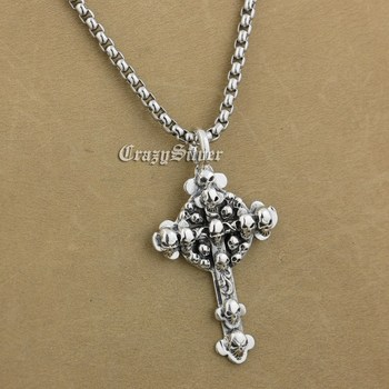 925 Sterling Silver Cross Skulls Mens Biker Rocker Punk Pendant 9V013 Steel Necklace 24 inches