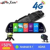 WHEXUNE New Car DVR 4G ADAS 10 Android 8.1 Stream Media Rear View Mirror GPS Navigator Camera Full HD 1080P Dash Cam Recorder