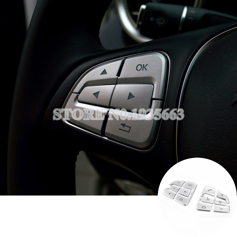 For Benz CLA C117 W117 Interior Steering Wheel Button Trim Cover 2015-2017 12pcs for benz cla c117 w117 inner door window switch button cover 2014 2017 14pcs