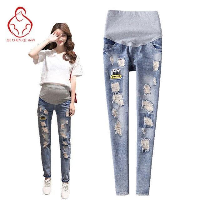 62816bc22 Primavera nuevos pantalones vaqueros de las mujeres embarazadas moda  agujero diseño stretch pantalones de las mujeres