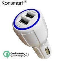 Konsmart двойной зарядное устройство USB Quick 3,0 Автомобильное зарядное устройство дорожный адаптер быстрое зарядное устройство для samsung Xiaomi IPad sony зарядное устройство для планшетов