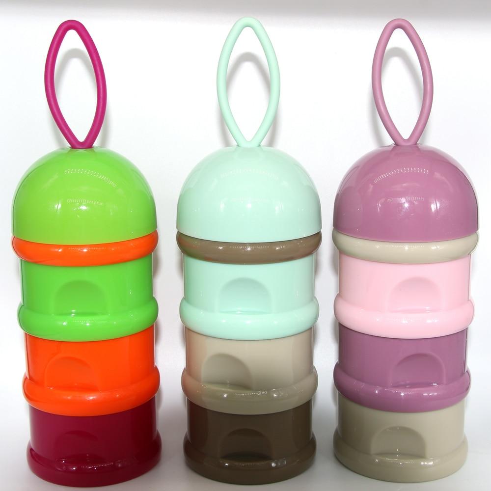 3 Layers Portable Baby Food Storage Box Essential Cereal Cartoon Milk Powder Box Toddler Kids Formula Dispenser Milk Container
