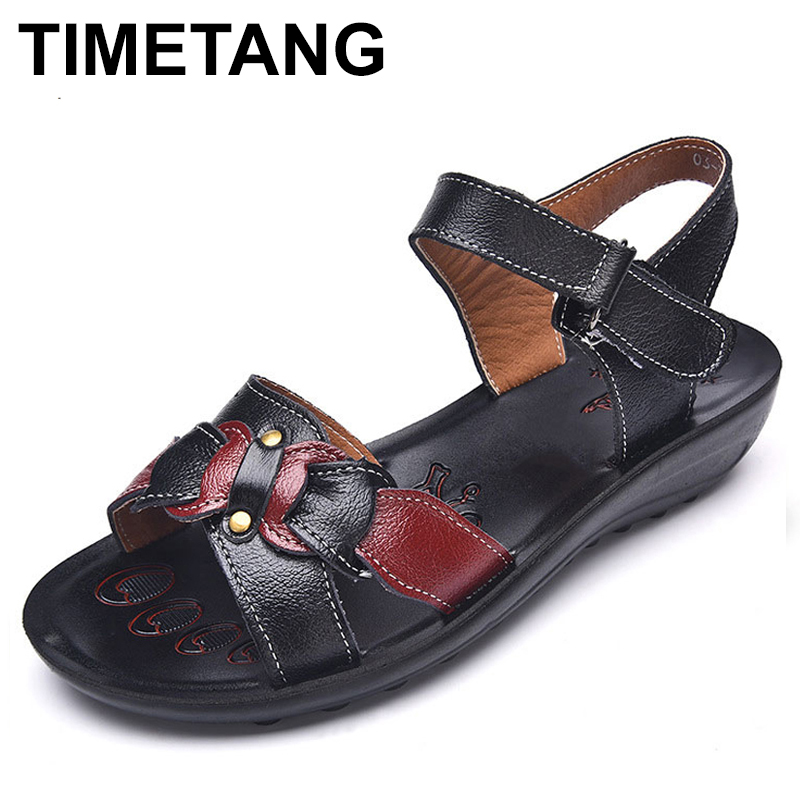 TIMETANG Summer Women's Shoes Genuine Leather Sandals 2018 new Ladies Flat Sandals Female Shoes Bow Knot Flats tenis feminino цена 2017