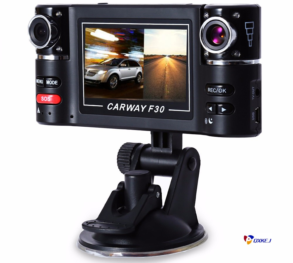 Carway F30 Car DVR Camera Dual Lens Wide Angle 180 Dashcam Rotated lens Vehicle Driving Digital Video Recorder Night Vision Cam
