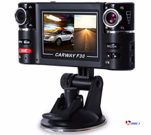 Carway F30 Car DVR Camera Dual Lens Wide Angle 180 Dashcam Rotated lens Vehicle Driving Digital Video Recorder Night Vision Cam new update 2 0 inch tft lcd dual lens motorcycle motorbike camera 120 degree wide angle dvr camera dashcam