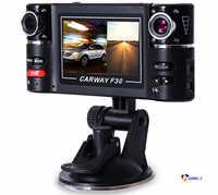 Carway F30 coche DVR cámara de doble lente de ángulo ancho 180 Dashcam girar lente vehículo grabadora de Video Digital de visión nocturna cam