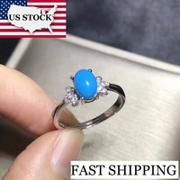 US STOCK Uloveido Blue Turquoise Solitaire Ring, 925 Sterling Silver, 5*7 mm Certified Oval Gemstone Wedding Party Jewelry FJ227