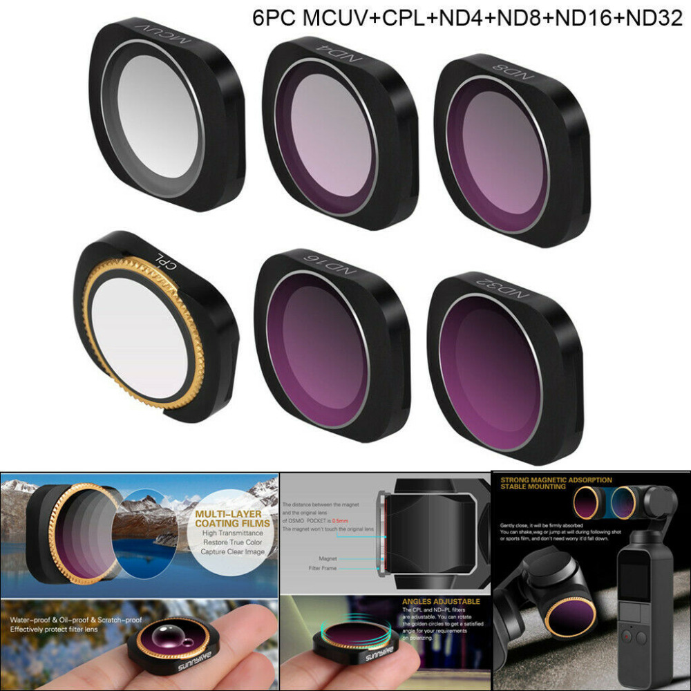6 pièces Caméra filtre d'objectif Pour DJI OSMO POCHE CPL ND-PL ND4 ND8 ND16 ND32 ND64 Ensemble Osmo Poche accessoires de drone livraison directe