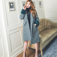 Vintage Thicken Striped Wools &Blends Coat Women Turn down Collar One Button Long Coat Casual Winter Autumn Overcoat Outerwear
