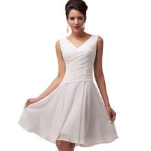 Grace Karin Beyaz Kokteyl Elbiseleri 2016 Diz Boyu Şifon Zarif Parti Abiye Hanımefendiler Kısa Balo Elbise Avondjurk 6059