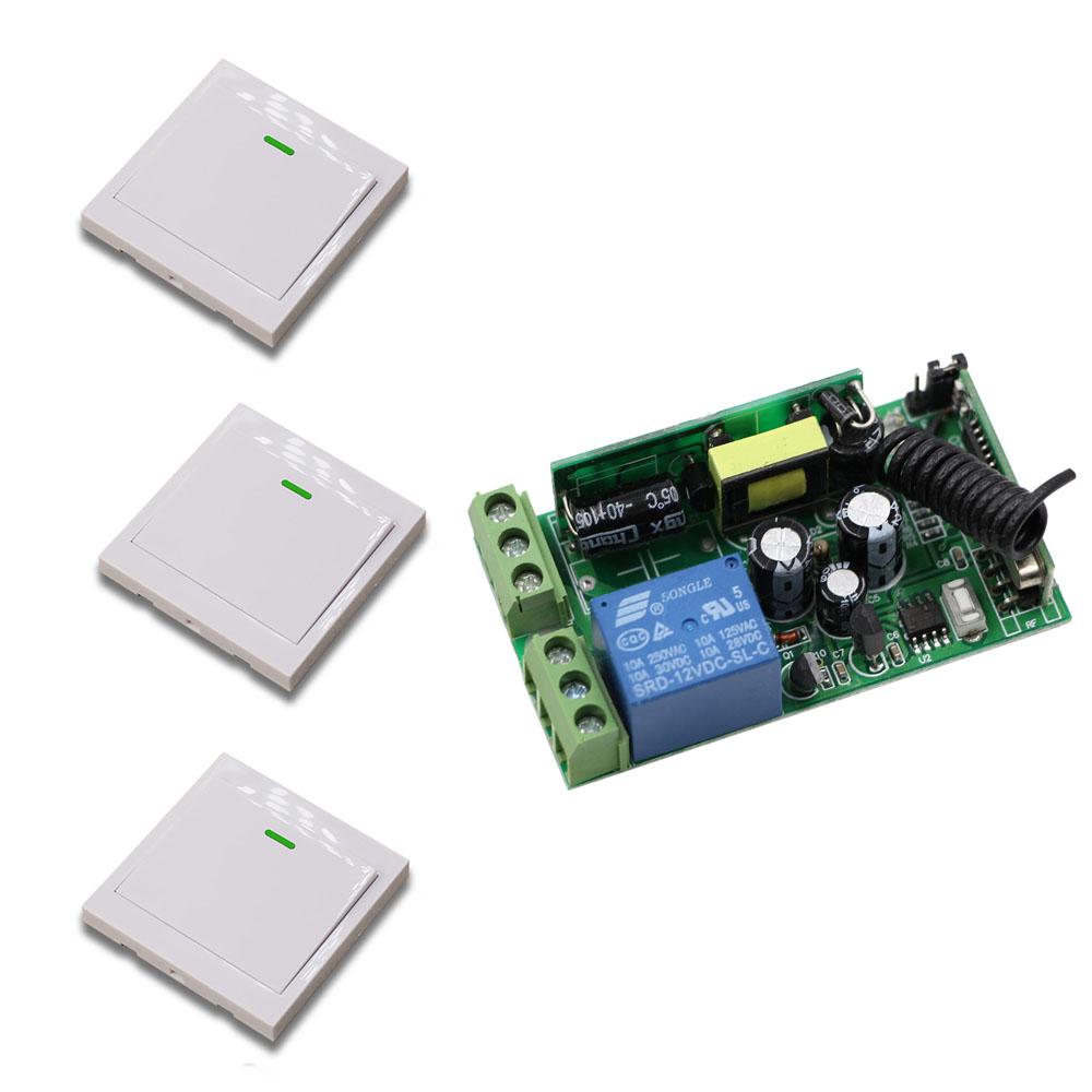 Wireless Panel Wall Transmitter Remote AC85V-250V 1CH 10A Relay Wide Voltage Receiver Learning Code for Smart Home