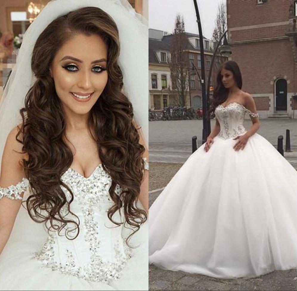sexy Ball Gown Wedding Dress 2019 Sweetheart Sleeveless Lace-up Court Train Crystal Bridal Dress wedding gown vestido de noiva