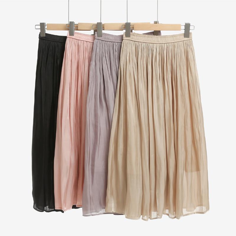 Mercerizing Texture Crimp Pleated Spring Xia Xinkuan Flash Of Light High Waist Half-body Leisurely Type Skirt 1