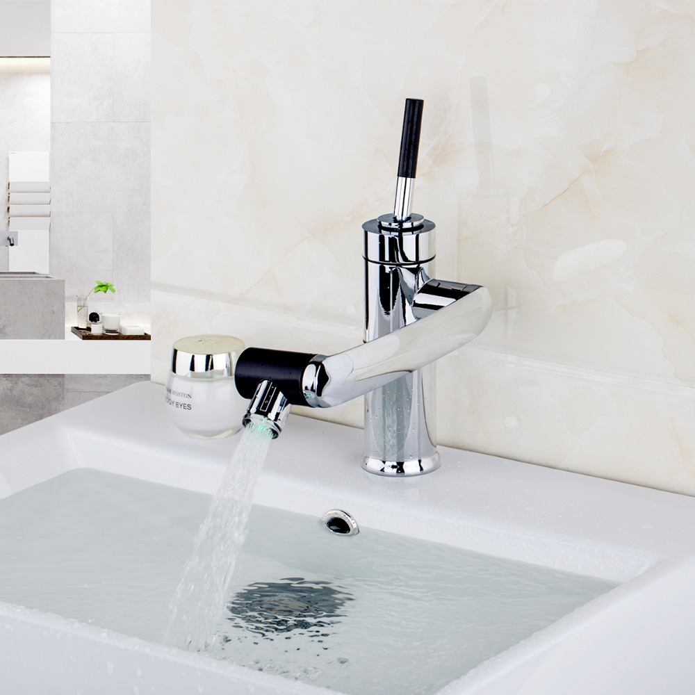 LED rotate faucet water Bathroom Faucet Kitchen Swivel Faucet Hot ...