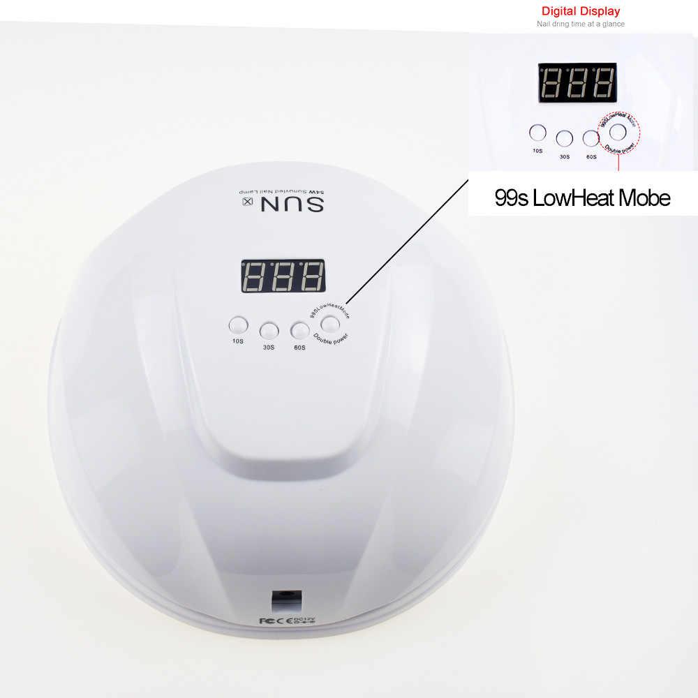 Sol X 54 W/72 W secador de uñas UV lámpara LED pantalla LCD 36 LEDS lámpara de Gel de uñas para herramientas para manicura de uñas con autodetección de esmalte de Gel de curado