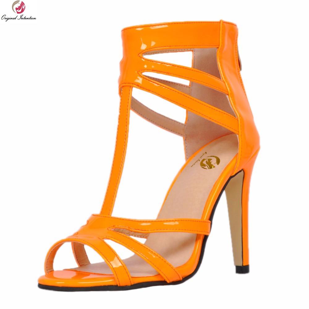 Original Intention Gorgeous Women Sandals Fashion Peep Toe Thin High Heels Sandals Stylish Orange Shoes Woman Plus US Size 4-15 55dsl джинсовые брюки