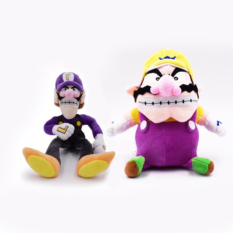 2 pcs/lot Anime Super Mario Bros Waluigi Wario <font><b>Peluche</b></font> Doll Plush Soft Stuffed Baby Toy Great Christmas Gift For Children image