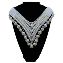 ML009 Off white beads diamond Flower DIY Lace Collar Sewing Craft Neckline Decoration applique lace collar free shipping