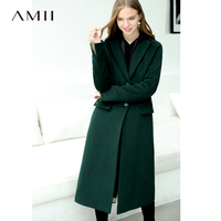 Amii Minimalist Chic Green Woolen Coat Winter Women 2018 Causal Solid Buttons Designer Female Long Wool Blends Coat Long Jackets