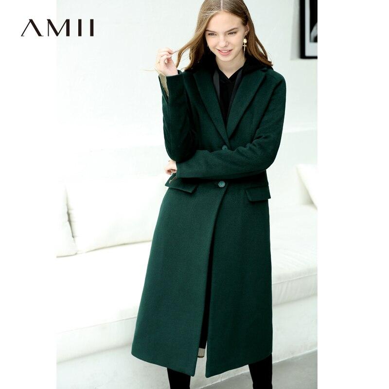Amii Minimaliste Chic Vert De Laine Manteau D'hiver Des Femmes 2018 de Causalité Solide Boutons Designer Femme Longue Laine Mélanges Manteau Long Vestes