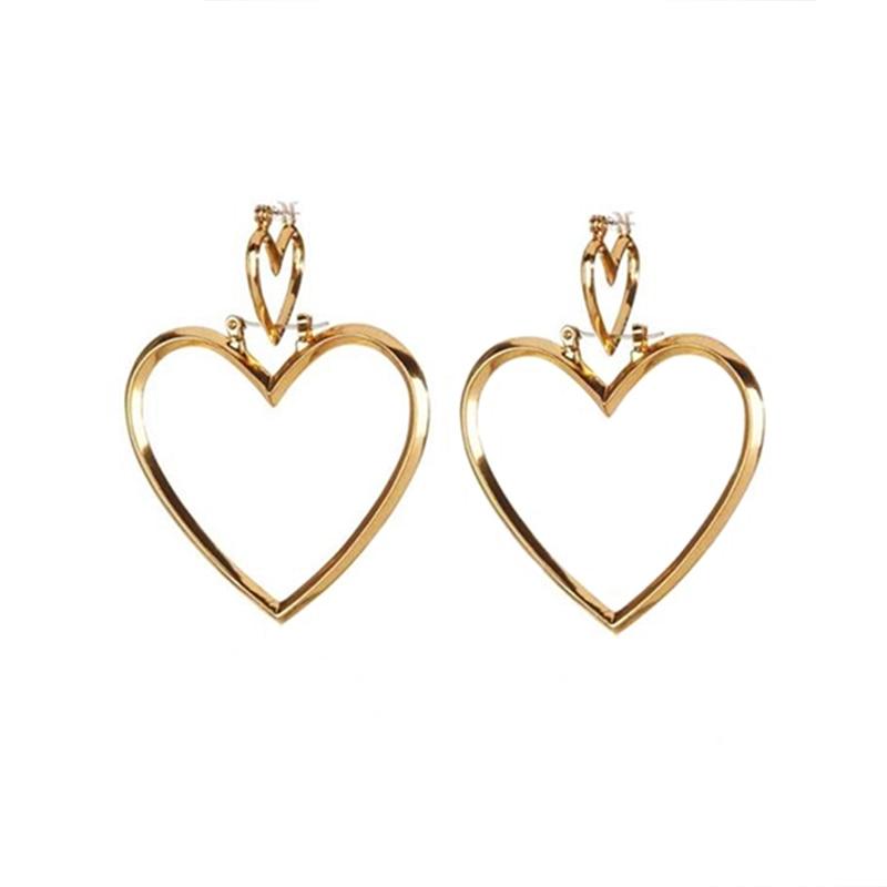 lwong new double heart hoop earrings for women big heart. Black Bedroom Furniture Sets. Home Design Ideas