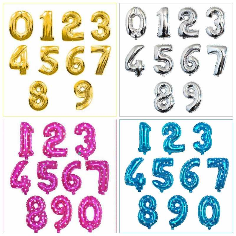 16/32/40 inch Figure Digit Number Foil Balloons Birthday Party Wedding Dec Gold Silver Blue Pink Inflatable Helium Gas Balloon