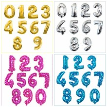 16/32/40 inch Figure Digit Number Foil Balloons Birthday Party Wedding Dec Gold Silver Blue Pink Inflatable Helium Gas Balloon(China)