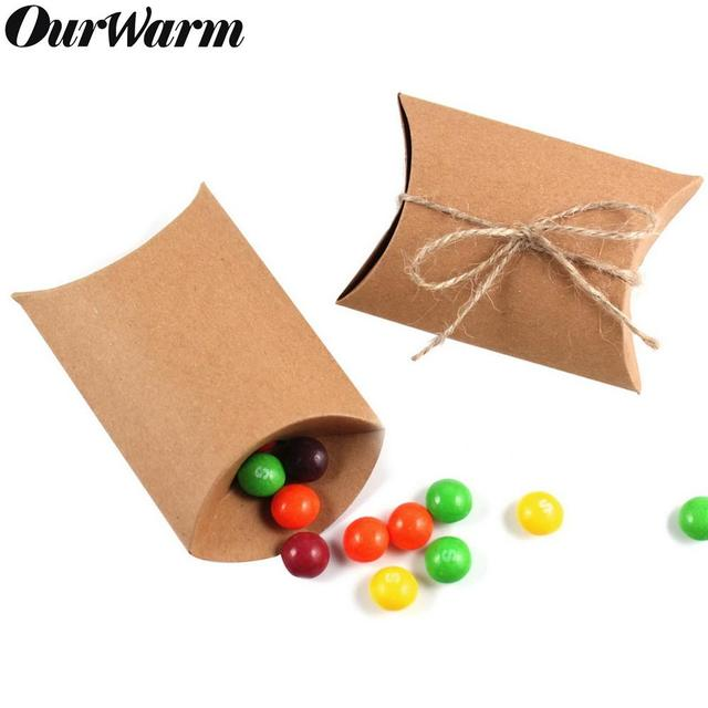 OurWarm 100pcs Kraft Paper Candy Gift Boxes Cardboard Bag With Burlap Gifts Rustic Wedding Birthday Baby Shower Party Decoration
