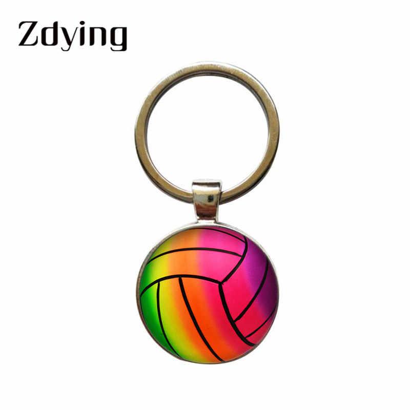 ZDYING moda voleibol baloncesto vidrio foto llavero cabujón redondo llavero colgante para niños niñas regalo V001