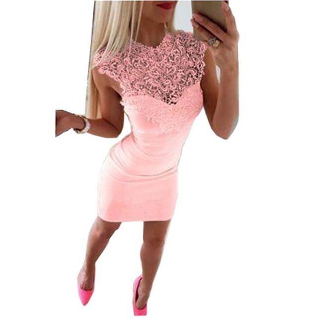 New Arrivals Summer Dress 2018 Women Sexy Club Slim Fit Lace Bodycon Party Dresses Casual Splicing Mini Dress Vestido