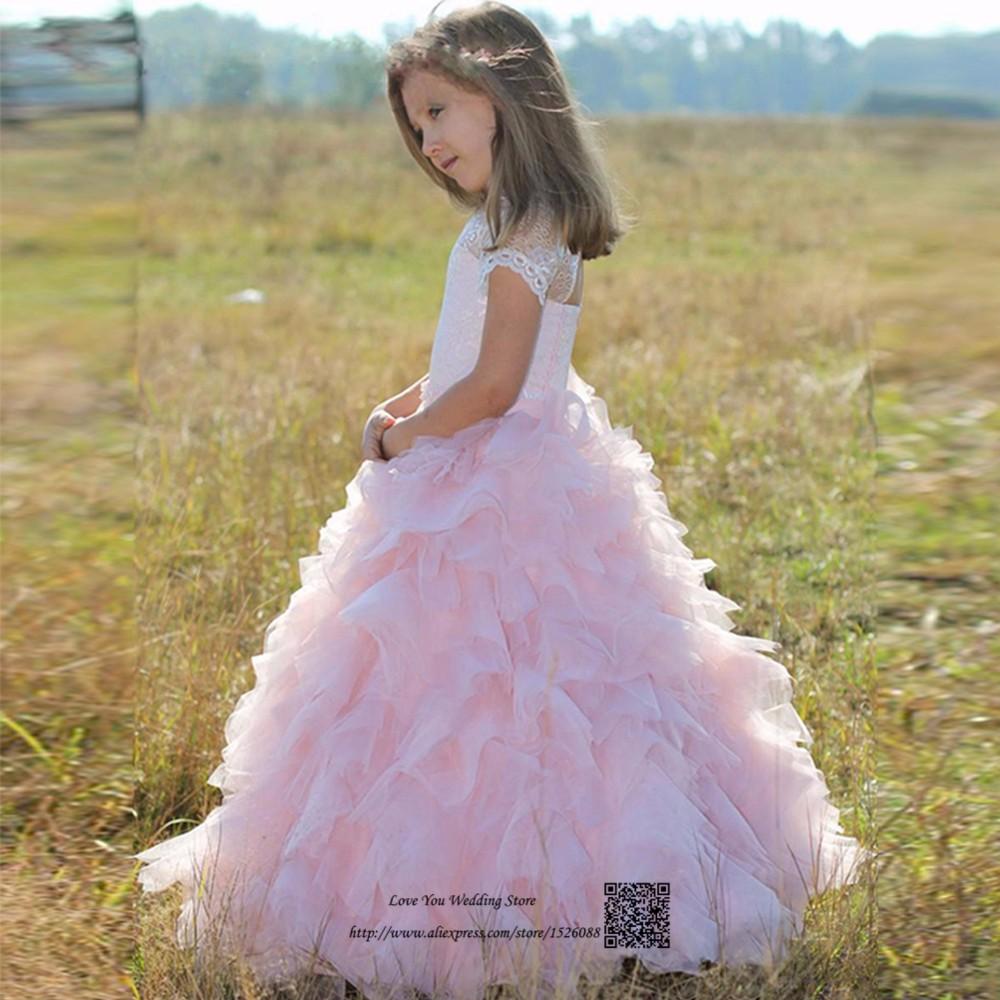e3b9edc367 Słodkie różowe koronki korowód sukienki dla dziewczynek Glitz pierwsza  komunia sukienki dla dziewczynek księżniczka dzieci suknie wieczorowe Prom  sukienka ...