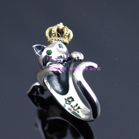 Good vibrations925 pure silver cat open ring