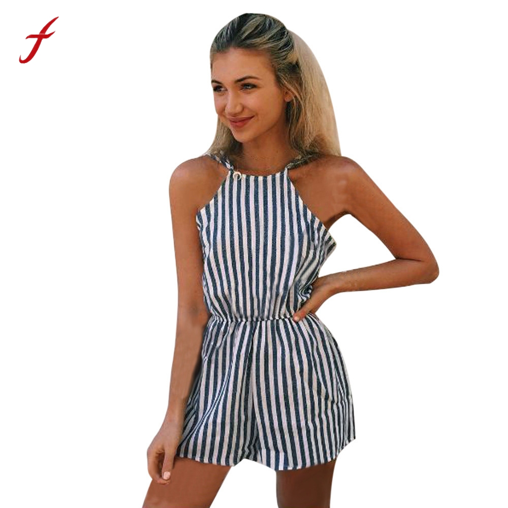on sale 9ca20 5ab23 US $6.05 18% OFF|Body Overall romper Frauen Damen Mini Overall Damen Sommer  Shorts Strand Sexy Vertikale Streifen Backless Cutaway Strampler-in ...
