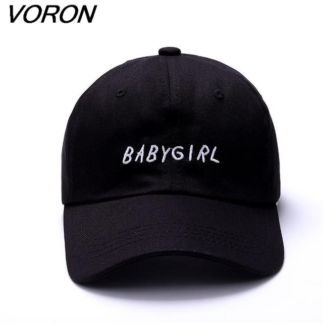 VORON nouveau 100% Coton Casquette de baseball BABYGIRL Broderie casquette de baseball De Mode Chapeaux Pour Hommes et Femmes Papa Chapeau Noir
