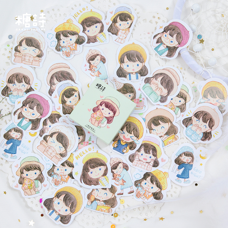 45 Pcs/Pack Cute Cartoon Girls Mini Adhesive Stickers Scrapbooking Diary Album Stick Label Paper DIY Decor