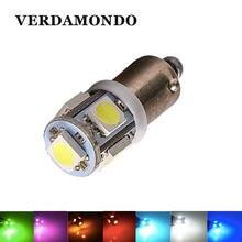 Lâmpada led para interior de carro t4w ba9s 5 smd 5050, lâmpada lateral para backup, lâmpada para porta, luz verde para placa vermelho azul amarelo amarelo