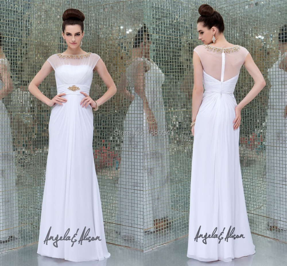 Hot Design simple elegant evening gowns boat neck a line evening ...