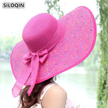 SILOQIN Summer Women's Straw Hat Big Brim Sun Hats For Women Foldable UV Resistant Beach Hat Bow Tie Decorated Adult Female Caps