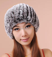 Women Winter Free Size Fur Beret Hat Female Thick Hand knitted Rabbit Pineapple Rex Rabbit Fur Caps Scarf Lady Stretch Sca