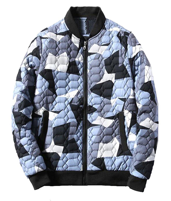 OULIU Mens Winter Warm Slim Fit Quilted <font><b>Bomber</b></font> <font><b>Jacket</b></font> Camo Coat
