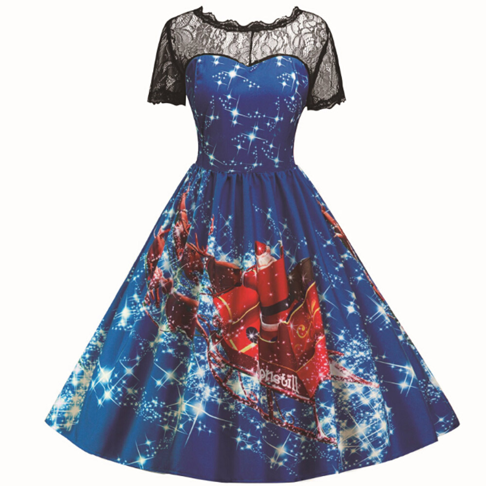 Holiday Style Christmas Party Dresses for Women Lace Short Sleeve Printed Short Retro Dress ...