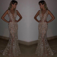 Sequined Night Dresses Long Sexy V neck Mermaid Sparkle Lace Formal Dresses 2019 Women's Gorgeous Formal Party Gowns Maxi Dress