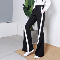 Side Striped Women Flare Pants Series 2018 New Spring Summer New Large Sizes High Waist Trouser