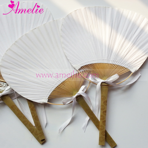 20pcs lot free shipping white wedding paddle hand fan with ribbons